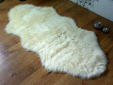 Cream Ivory Faux Fur Double Sheepskin Style Rug 70 x 140cm Washable