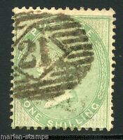 GREAT BRITAIN  ONE SHILLING GREEN  SCOTT#28  USED LOT I