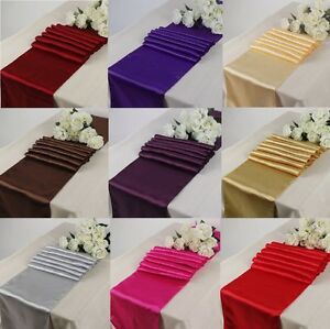 """12""""x 108""""  Satin Table Runners Chair Wedding Party Table Decoration Rose Gold"""