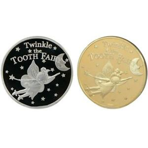 Gold Silver Plated Twinkle Tooth Fairy Coin Collection Souvenir Challenge Art
