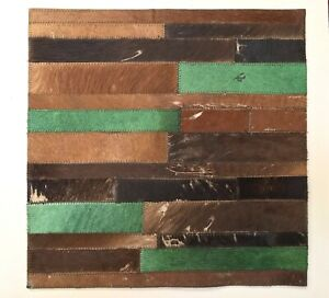 SURYA Rug Leather Hair on Hide Carpet Tile Hand Craft Emerald Camel Brown 18x18