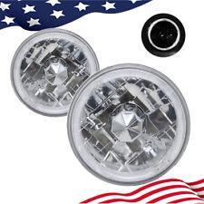 "5.75 inch 5 3/4"" Round White Halo Angel Eyes Diamond Cut Clear Lens Headlights"