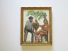 ANTIQUE BLACK AMERICANA PAINTING VINTAGE PORTRAIT COUPLE WITH CHICKEN SOUTHERN