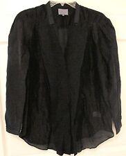 Maiyet Silk Poet Blouse Sheer Black Tuxedo Sz 36/4 French Plunging