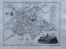 1806 Canterbury City Plan Original Antique Map by Cole & Roper