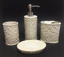 4 PC CERAMIC TAN,BEIGE,IVORY 3D FLORAL SOAP DISPENSER+DISH+TUMBLER+TOOTHBRUSH