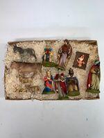 Vintage 13 pcs Hand Painted Nativity Set Western Germany Friedel Krippenfiguren