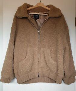 Girls' Size 14 Brown Long Sleeve Polyester Sheepskin look a like Full Zip Jacket