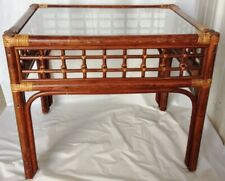 Wonderful Mid Century Asian Chinese Bamboo Rattan Glass Top End Table.20