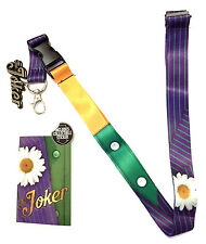 DC COMICS THE JOKER SUIT UP COSTUME LANYARD BADGE ID HOLDER KEYCHAIN STICKER NWT