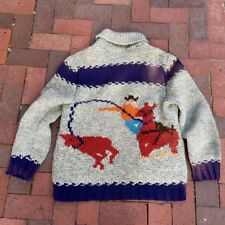 1940s Soft Wool Cowichan Cardigan Heavy Thick Cowboy Rodeo Sweater 40� Sun Faded