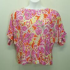Ralph Lauren L Sweater Shirt Top Blouse Bright Vibrant Colors Floral Pink Yellow