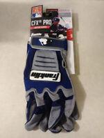 Franklin Sports MLB CFX Pro Baseball Batting Gloves | Dary Gray / Navy | Size XL