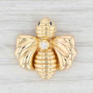 Chaumet Paris Bee Pendant 18k Yellow Gold Diamond Sapphire Insect Jewelry