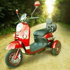 Exclusive 3 Wheeled Electric Mobility Scooter Red Eco 60V20AH 800W LED LIGHT