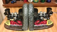 Beautiful Ceramic Locomotive Bookends,ex!