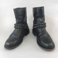 Office 38 UK5 Black Leather Ankle Buckle Studded Biker Rider Boho Booties Boots