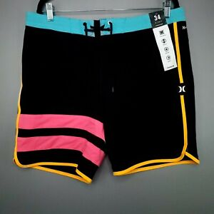 "Hurley Mens Phantom Block Party Solid Black Board Pink Shorts 18"" Size 34"