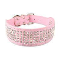 Pink New Bling Rhinestone Dog Collars Leather Crystal Jeweled Pet Collar 5 Sizes