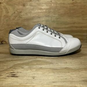 FootJoy Contour Casual Leather Golf Shoes (54204), Men 13 Extra Wide, White/Gray