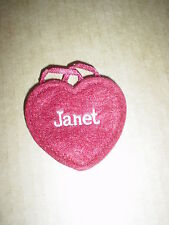 """Ganz  NEW Red Felt Name  Embroidered  """" JANET """" Heart  Craft Patch / Ornamen"""