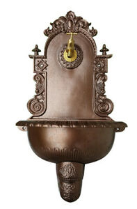 Antik Alu Bassena Wand Brunnen Wandbrunnen Jugendstil Ablauf Wasserhahn FOU-3W