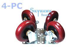 "4 Casters top plate 4"" Polyurethane pu 2 Swivel Wheels & 2 Brakes or Lockers"