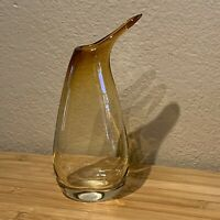 "Amber Art Glass Vase Pitcher Vintage Mid Century Modern Art Deco 8-5/8""  A5"