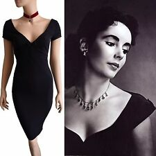 DOLCE & GABBANA VINTAGE Runway 90 S Noir Crêpe Liz Taylor taille de robe 8 4 40 DG