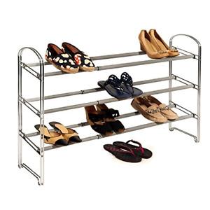 Seville Classics WEB237 3Tier Expandable Chrome Shoe Rack - Gray