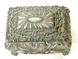 Antique/Vintage Silverplate Repousse Footed Casket Trinket Box w/Lining