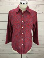 TALBOTS Women's Red Floral 3/4 Sleeve Button Down Top Shirt Size S