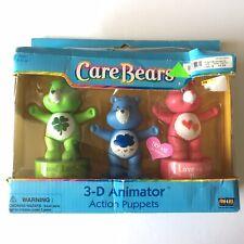 Care bear 3-D Animator Action Finger Puppet Gift Set Good Luck Love A Lot Grumpy