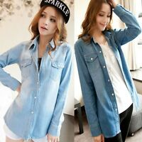 Casual Women's Long Sleeve Collar Lapel Fashion Jeans Denim Shirt Top Blouse