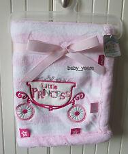 BABY GIRLS LITTLE PRINCESS SOFT FLEECE BLANKET WRAP COMFORT TAGS PINK GIFT NEW