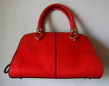Bag HANDBAG Purse, Red & Tan Faux Leather, Two Handles, Gold Tone Details, Lined