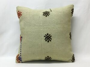 45x45cm Beige Embroidery Kilim Pillow Cover Vintage Kilim Pillow Sofa Pillow