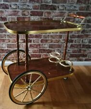 Vintage Retro Hollywood Regency Drinks Tea Serving Trolley Bar Cart Brass Teak