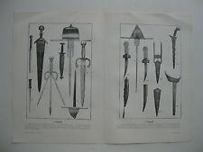 stampa antica old print FOTO PUGNALI ANTICHI ARMI BIANCHE 1910