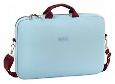 MOOS Capsula Blue Deluxe Laptop Messenger Bag Case 15.6'' Inches Faux Leather