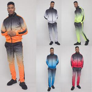 Men's Ombre Gradient Colored Pant&Jacket  2 Piece Sweatsuit Set Track Suit ST579