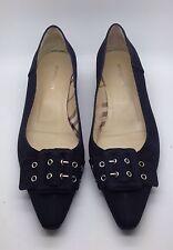 BURBERRY Black Canvas Leather Ballet Flats Nova Check 39.5 9M Italy Worn 1x Nice