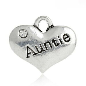 4 PCS 'AUNTIE' SILVER TONE RHINESTONE HEART CHARMS FAMILY WEDDING (No11)