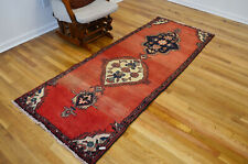 3x8 Geometric Red Hand Knotted Oriental Vintage Wool Traditional Runner Area Rug