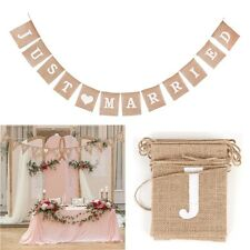 JUST MARRIED Hessian Burlap Banner Rustic Wedding Party Bunting Hanging Decor