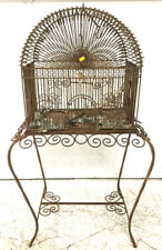 Twisted Iron & Metal Scroll Birdcage W/ Stand Lot 2245