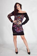 DESIGUAL Winter Dress Vesito Nero Inserti Colorati In Lana Wool TG M Donna Woman