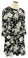 CHARTER CLUB 2X black floral stretch knit bell sleeve scoop neck knee dress