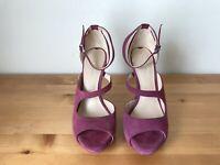 VIA SPIGA Dark pink strappy suede platform sandals shoes sz 6.5M