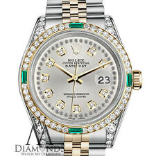 Ladies 2 Tone Rolex 26mm Datejust Silver Color String Emerald Diamond Dial Watch